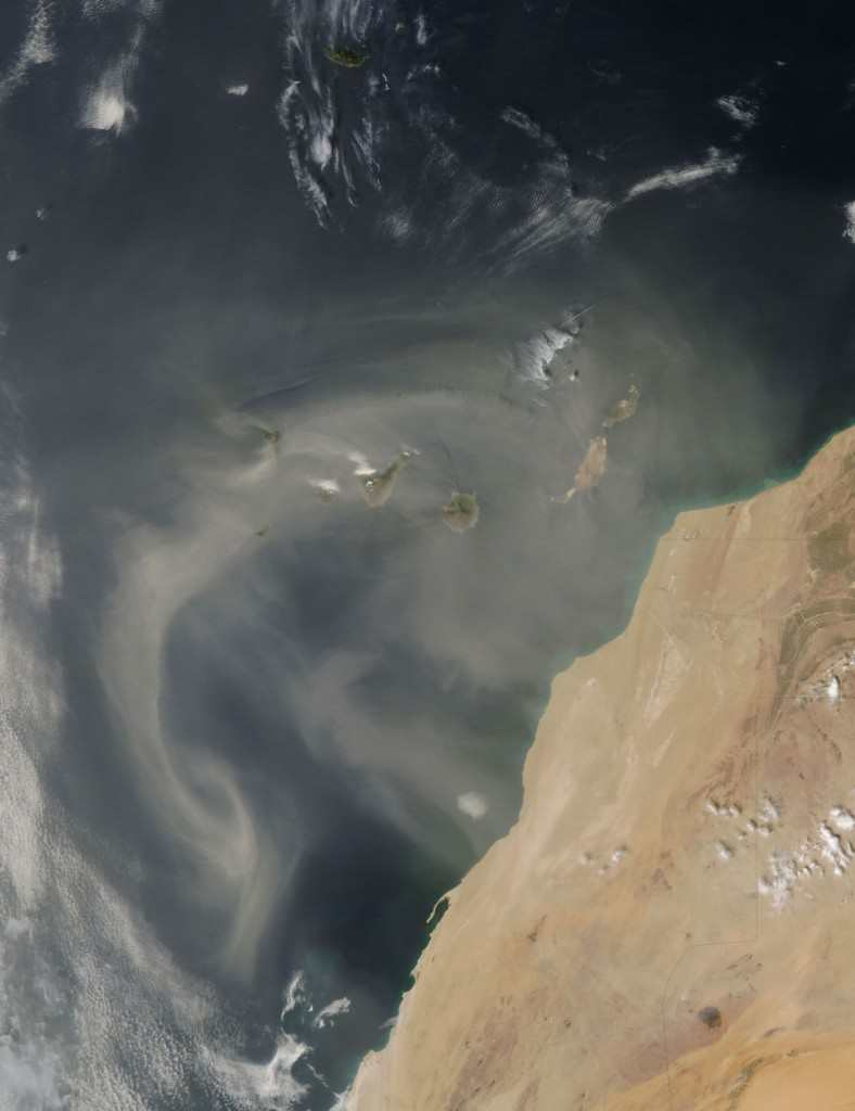 Klima Kanariøyene - Calima over Kanariøyene. Foto: NASA