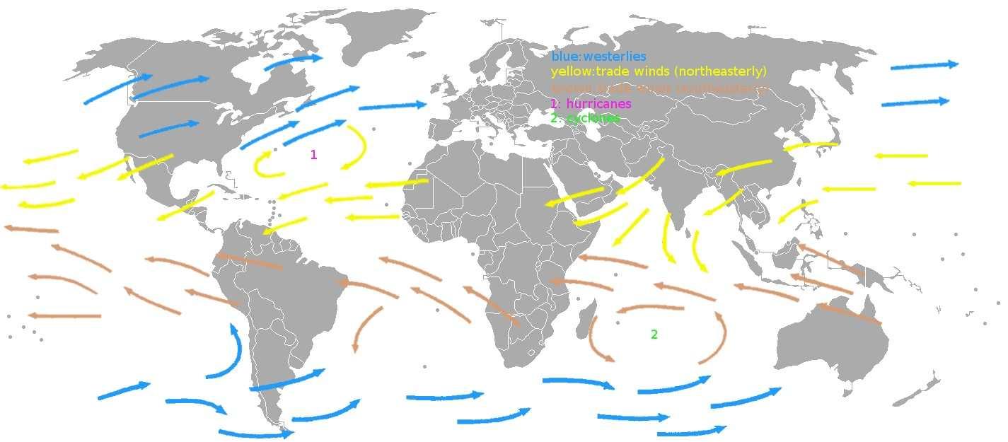 De gule pilene viser vindene fra Kanariøyene og over Atlanteren.