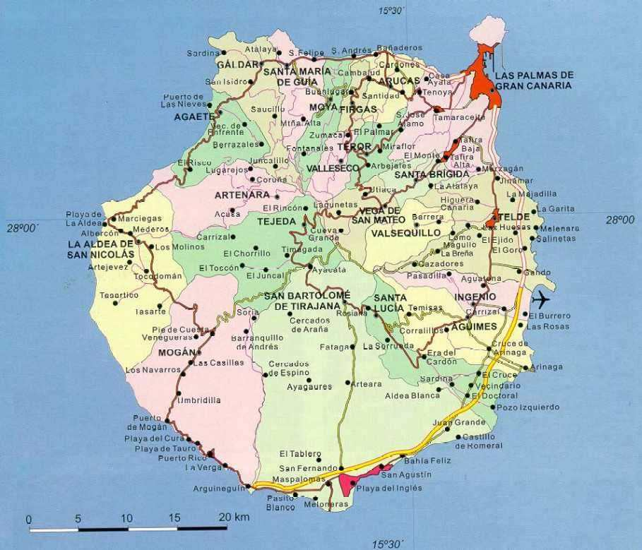 Gran Canaria Øst kommunekart gc