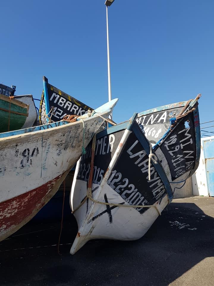 Båtene til flyktningene hoper seg opp i Arguineguin. Foto Ann Cathrin Kaspara Foseid