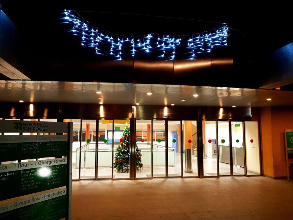Innleggelse Hospital San Roque Maspalomas Gran Canaria pyntet til jul