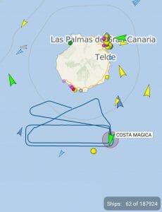 Cruise skipet Costa Magica i ring sør for Gran Canaria